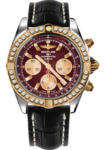 Breitling Watches - Chronomat 44 Steel and Rose Gold 40 Dia Bezel - Croco Strap - Tang - Style No: CB011053/K524-croco-black-tang