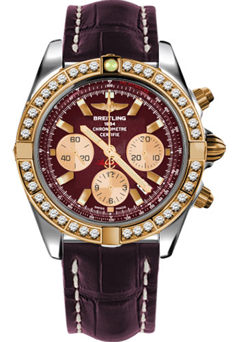 Breitling Watches - Chronomat 44 Steel and Rose Gold 40 Dia Bezel - Croco Strap - Tang - Style No: CB011053/K524-croco-burgundy-tang