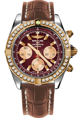 Breitling Watches - Chronomat 44 Steel and Rose Gold 40 Dia Bezel - Croco Strap - Deployant - Style No: CB011053/K524-croco-gold-deployant