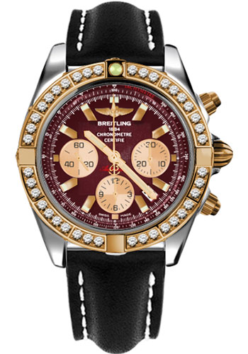 Breitling Watches - Chronomat 44 Steel and Rose Gold 40 Dia Bezel - Leather Strap - Deployant - Style No: CB011053/K524-leather-black-deployant