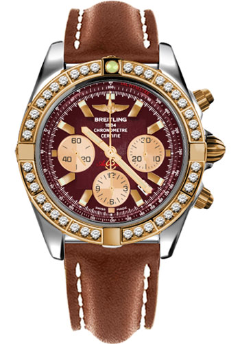 Breitling Watches - Chronomat 44 Steel and Rose Gold 40 Dia Bezel - Leather Strap - Deployant - Style No: CB011053/K524-leather-gold-deployant