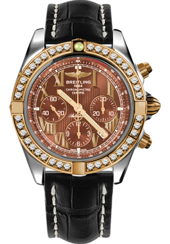 Breitling Watches - Chronomat 44 Steel and Rose Gold 40 Dia Bezel - Croco Strap - Deployant - Style No: CB011053/Q567-croco-black-deployant