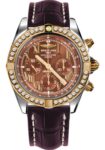 Breitling Watches - Chronomat 44 Steel and Rose Gold 40 Dia Bezel - Croco Strap - Deployant - Style No: CB011053/Q567-croco-burgundy-deployant