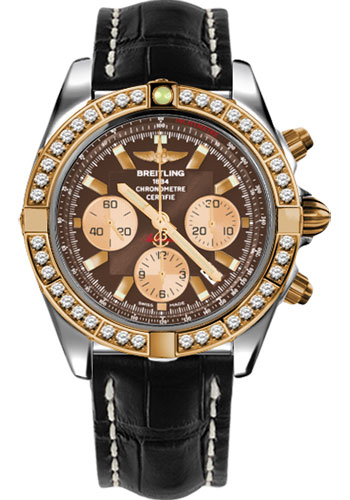 Breitling Watches - Chronomat 44 Steel and Rose Gold 40 Dia Bezel - Croco Strap - Deployant - Style No: CB011053/Q576-croco-black-deployant
