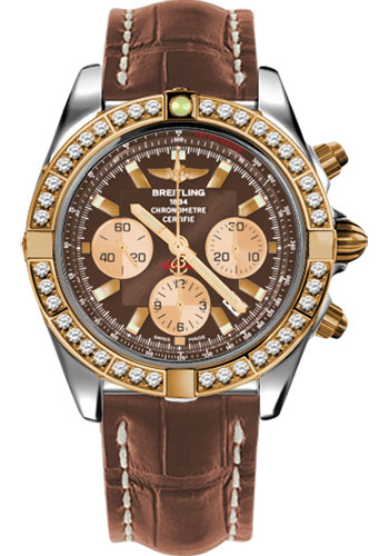 Breitling Watches - Chronomat 44 Steel and Rose Gold 40 Dia Bezel - Croco Strap - Deployant - Style No: CB011053/Q576-croco-gold-deployant