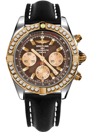 Breitling Watches - Chronomat 44 Steel and Rose Gold 40 Dia Bezel - Leather Strap - Deployant - Style No: CB011053/Q576-leather-black-deployant
