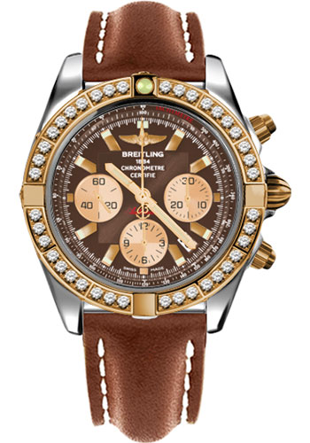 Breitling Watches - Chronomat 44 Steel and Rose Gold 40 Dia Bezel - Leather Strap - Deployant - Style No: CB011053/Q576-leather-gold-deployant