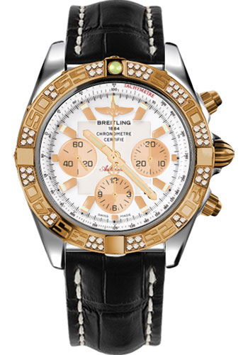 Breitling Watches - Chronomat 44 Steel and Rose Gold 60 Dia Bezel - Croco Strap - Tang - Style No: CB0110AA/A696-croco-black-tang