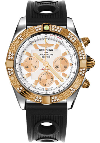 Breitling Watches - Chronomat 44 Steel and Rose Gold 60 Dia Bezel - Ocean Racer Strap - Deployant - Style No: CB0110AA/A696-ocean-racer-black-deployant