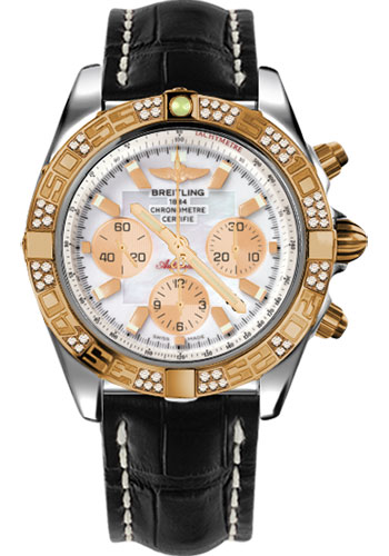 Breitling Watches - Chronomat 44 Steel and Rose Gold 60 Dia Bezel - Croco Strap - Tang - Style No: CB0110AA/A697-croco-black-tang