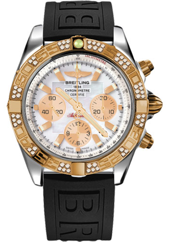 Breitling Watches - Chronomat 44 Steel and Rose Gold 60 Dia Bezel - Diver Pro III Strap - Tang - Style No: CB0110AA/A697-diver-pro-iii-black-tang
