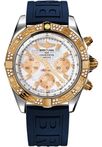 Breitling Watches - Chronomat 44 Steel and Rose Gold 60 Dia Bezel - Diver Pro III Strap - Tang - Style No: CB0110AA/A697-diver-pro-iii-blue-tang