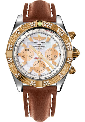 Breitling Watches - Chronomat 44 Steel and Rose Gold 60 Dia Bezel - Leather Strap - Deployant - Style No: CB0110AA/A697-leather-gold-deployant
