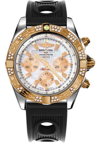 Breitling Watches - Chronomat 44 Steel and Rose Gold 60 Dia Bezel - Ocean Racer Strap - Deployant - Style No: CB0110AA/A697-ocean-racer-black-deployant