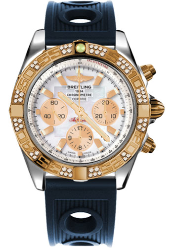 Breitling Watches - Chronomat 44 Steel and Rose Gold 60 Dia Bezel - Ocean Racer Strap - Deployant - Style No: CB0110AA/A697-ocean-racer-blue-deployant