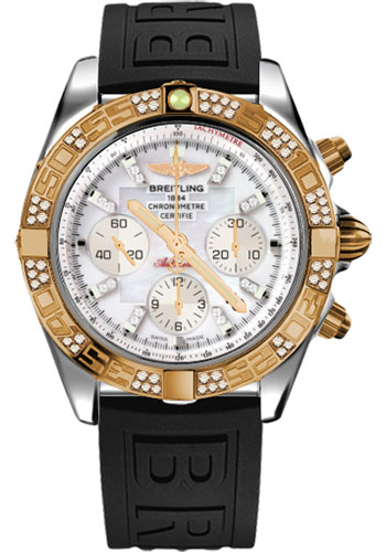 Breitling Watches - Chronomat 44 Steel and Rose Gold 60 Dia Bezel - Diver Pro III Strap - Deployant - Style No: CB0110AA/A698-diver-pro-iii-black-deployant