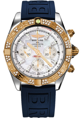 Breitling Watches - Chronomat 44 Steel and Rose Gold 60 Dia Bezel - Diver Pro III Strap - Tang - Style No: CB0110AA/A698-diver-pro-iii-blue-tang