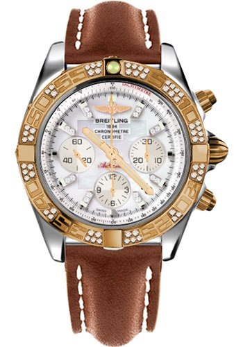 Breitling Watches - Chronomat 44 Steel and Rose Gold 60 Dia Bezel - Leather Strap - Deployant - Style No: CB0110AA/A698-leather-gold-deployant