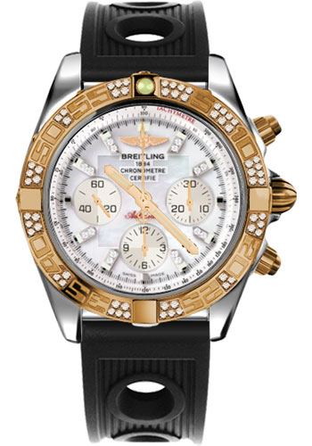 Breitling Watches - Chronomat 44 Steel and Rose Gold 60 Dia Bezel - Ocean Racer Strap - Deployant - Style No: CB0110AA/A698-ocean-racer-black-deployant