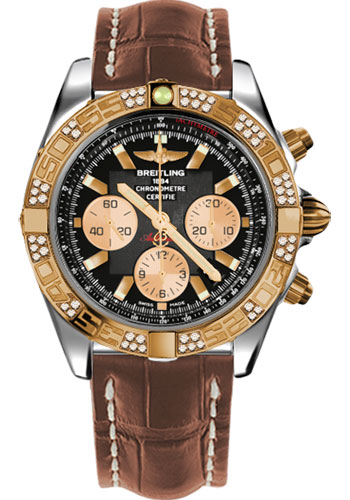 Breitling Watches - Chronomat 44 Steel and Rose Gold 60 Dia Bezel - Croco Strap - Tang - Style No: CB0110AA/B968-croco-gold-tang