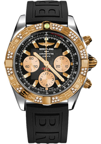 Breitling Watches - Chronomat 44 Steel and Rose Gold 60 Dia Bezel - Diver Pro III Strap - Tang - Style No: CB0110AA/B968-diver-pro-iii-black-tang