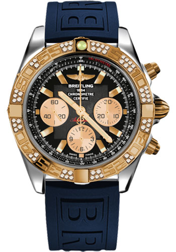 Breitling Watches - Chronomat 44 Steel and Rose Gold 60 Dia Bezel - Diver Pro III Strap - Tang - Style No: CB0110AA/B968-diver-pro-iii-blue-tang