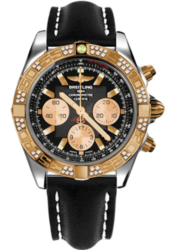 Breitling Watches - Chronomat 44 Steel and Rose Gold 60 Dia Bezel - Leather Strap - Deployant - Style No: CB0110AA/B968-leather-black-deployant
