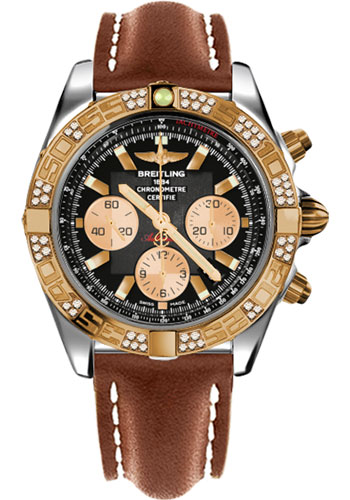 Breitling Watches - Chronomat 44 Steel and Rose Gold 60 Dia Bezel - Leather Strap - Deployant - Style No: CB0110AA/B968-leather-gold-deployant