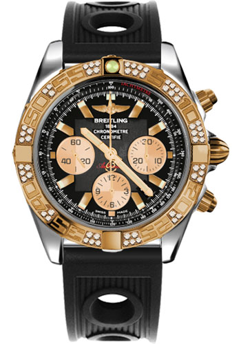 Breitling Watches - Chronomat 44 Steel and Rose Gold 60 Dia Bezel - Ocean Racer Strap - Deployant - Style No: CB0110AA/B968-ocean-racer-black-deployant