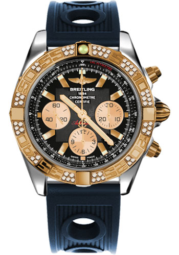Breitling Watches - Chronomat 44 Steel and Rose Gold 60 Dia Bezel - Ocean Racer Strap - Deployant - Style No: CB0110AA/B968-ocean-racer-blue-deployant