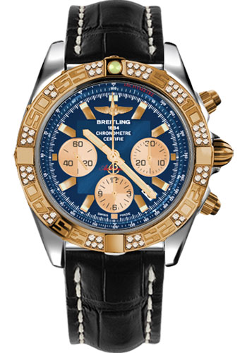 Breitling Watches - Chronomat 44 Steel and Rose Gold 60 Dia Bezel - Croco Strap - Deployant - Style No: CB0110AA/C790-croco-black-deployant
