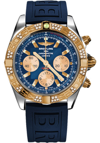 Breitling Watches - Chronomat 44 Steel and Rose Gold 60 Dia Bezel - Diver Pro III Strap - Tang - Style No: CB0110AA/C790-diver-pro-iii-blue-tang