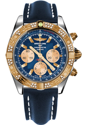 Breitling Watches - Chronomat 44 Steel and Rose Gold 60 Dia Bezel - Leather Strap - Deployant - Style No: CB0110AA/C790-leather-blue-deployant