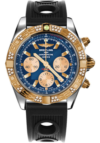 Breitling Watches - Chronomat 44 Steel and Rose Gold 60 Dia Bezel - Ocean Racer Strap - Deployant - Style No: CB0110AA/C790-ocean-racer-black-deployant