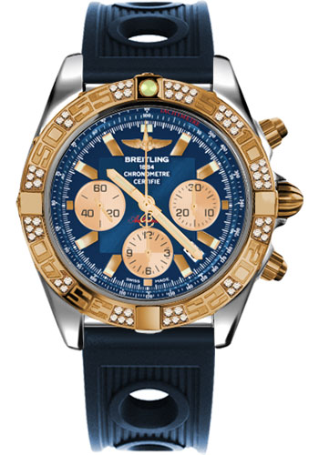 Breitling Watches - Chronomat 44 Steel and Rose Gold 60 Dia Bezel - Ocean Racer Strap - Deployant - Style No: CB0110AA/C790-ocean-racer-blue-deployant