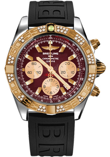 Breitling Watches - Chronomat 44 Steel and Rose Gold 60 Dia Bezel - Diver Pro III Strap - Tang - Style No: CB0110AA/K524-diver-pro-iii-black-tang