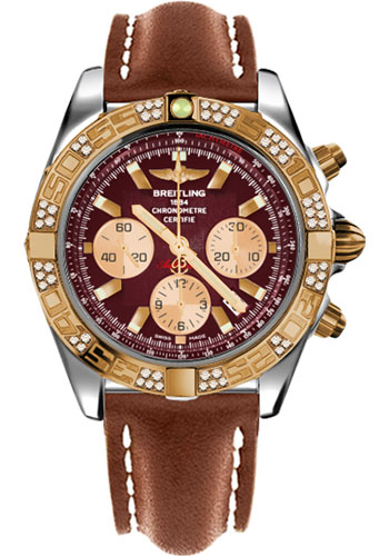 Breitling Watches - Chronomat 44 Steel and Rose Gold 60 Dia Bezel - Leather Strap - Tang - Style No: CB0110AA/K524-leather-gold-tang