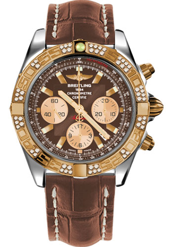 Breitling Watches - Chronomat 44 Steel and Rose Gold 60 Dia Bezel - Croco Strap - Deployant - Style No: CB0110AA/Q576-croco-gold-deployant