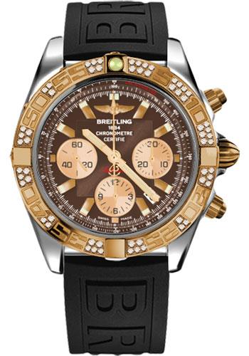 Breitling Watches - Chronomat 44 Steel and Rose Gold 60 Dia Bezel - Diver Pro III Strap - Tang - Style No: CB0110AA/Q576-diver-pro-iii-black-tang