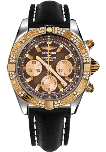 Breitling Watches - Chronomat 44 Steel and Rose Gold 60 Dia Bezel - Leather Strap - Deployant - Style No: CB0110AA/Q576-leather-black-deployant
