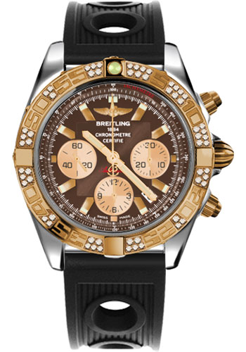Breitling Watches - Chronomat 44 Steel and Rose Gold 60 Dia Bezel - Ocean Racer Strap - Deployant - Style No: CB0110AA/Q576-ocean-racer-black-deployant