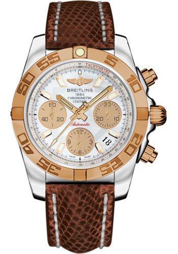 Breitling Watches - Chronomat 41 Steel and Gold Polished Bezel - Lizard Strap - Deployant - Style No: CB014012/A722-lizard-brown-deployant