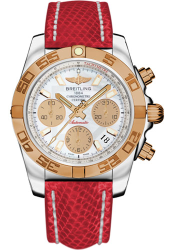 Breitling Watches - Chronomat 41 Steel and Gold Polished Bezel - Lizard Strap - Deployant - Style No: CB014012/A722-lizard-red-deployant