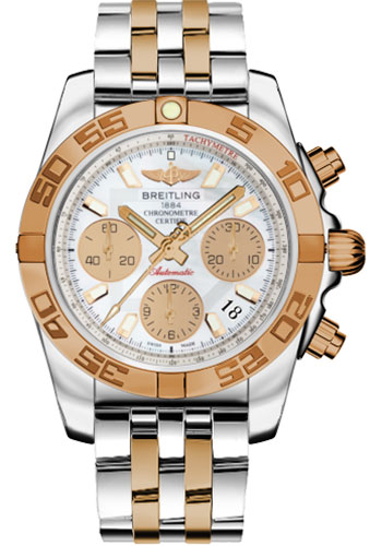Breitling Watches - Chronomat 41 Steel and Gold Polished Bezel - Steel and Gold Pilot Bracelet - Style No: CB014012/A722-pilot-steel-rose-gold