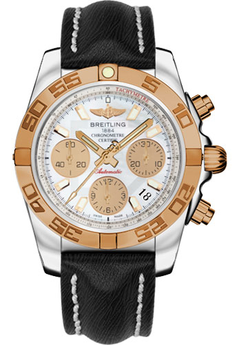 Breitling Watches - Chronomat 41 Steel and Gold Polished Bezel - Sahara Leather Strap - Style No: CB014012/A722-sahara-black-tang