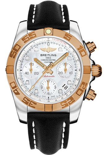 Breitling Watches - Chronomat 41 Steel and Gold Polished Bezel - Leather Strap - Deployant - Style No: CB014012/A723-leather-black-deployant