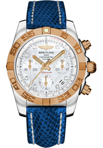 Breitling Watches - Chronomat 41 Steel and Gold Polished Bezel - Lizard Strap - Deployant - Style No: CB014012/A723-lizard-blue-marine-deployant