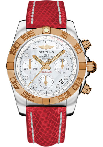 Breitling Watches - Chronomat 41 Steel and Gold Polished Bezel - Lizard Strap - Deployant - Style No: CB014012/A723-lizard-red-deployant