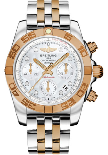 Breitling Watches - Chronomat 41 Steel and Gold Polished Bezel - Steel and Gold Pilot Bracelet - Style No: CB014012/A723-pilot-steel-rose-gold