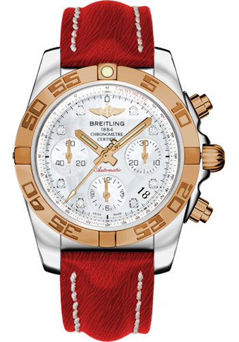 Breitling Watches - Chronomat 41 Steel and Gold Polished Bezel - Sahara Leather Strap - Style No: CB014012/A723-sahara-red-tang